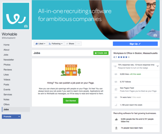 How to recruit on Facebook: Facebook jobs tab