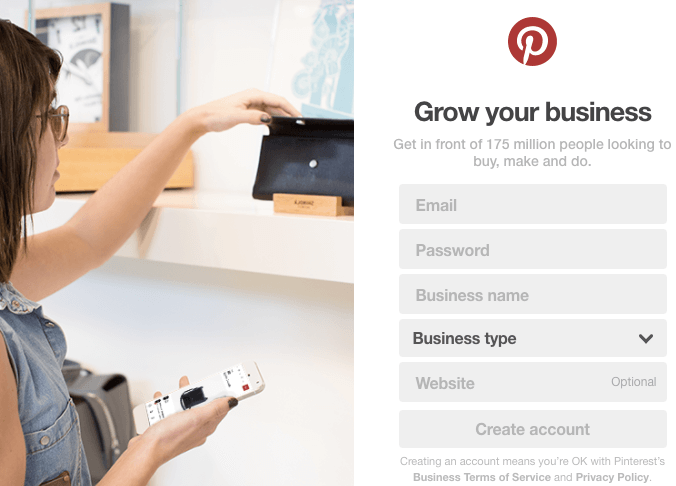 recruiting on Pinterest   create a business account