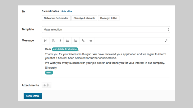 Applicant rejection email template in Workable