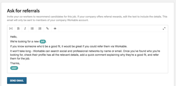 Employee referral request form template